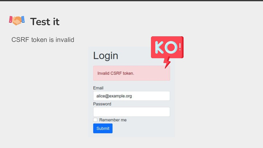 Test it CSRF token is invalid