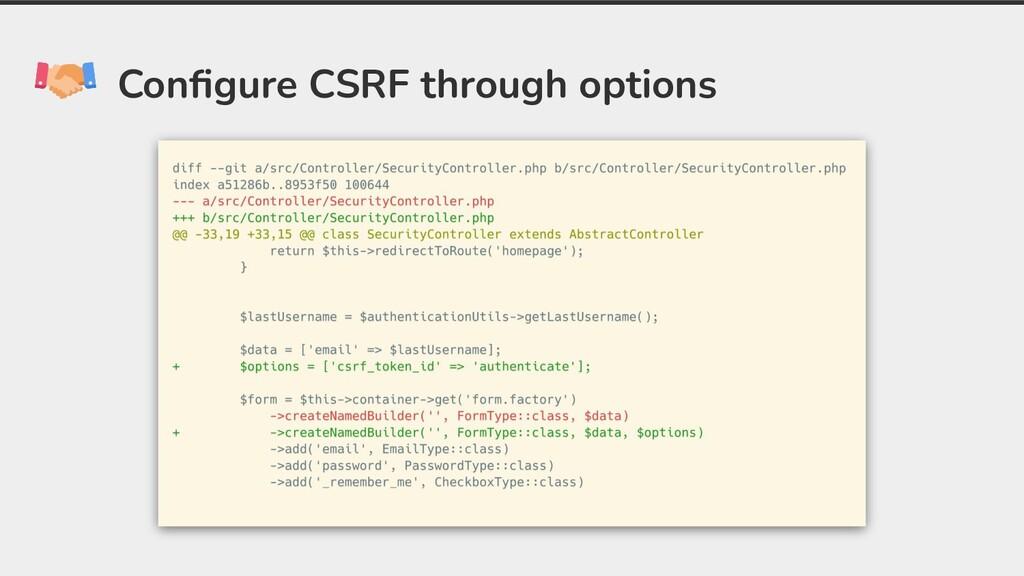 Configure CSRF through options