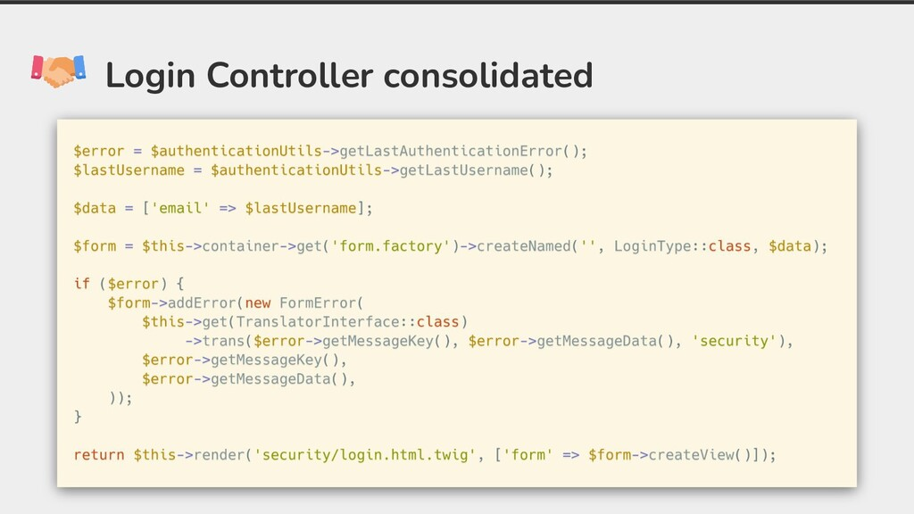 Login Controller consolidated