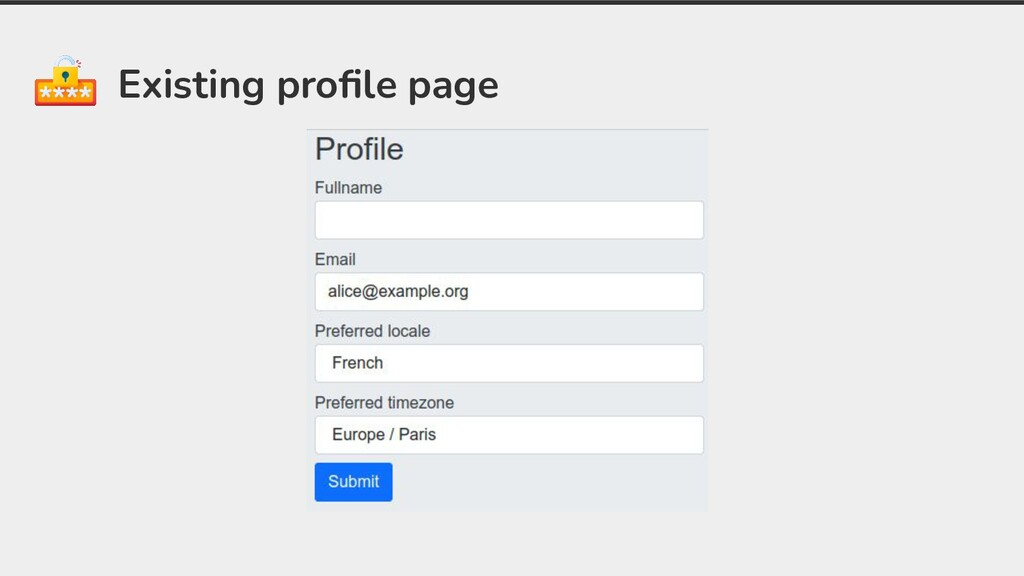 Existing profile page