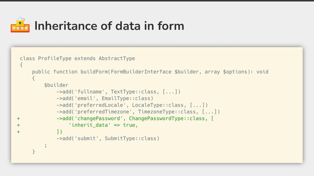 Inheritance of data in form