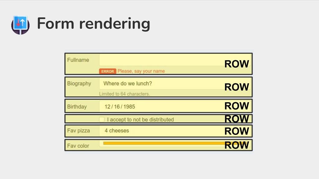 Form rendering ROW ROW ROW ROW ROW ROW