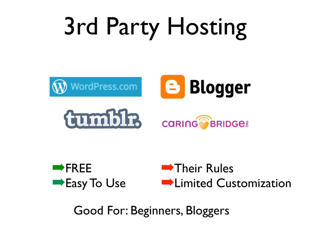 3rd Party Hosting Good For: Beginners, Bloggers...