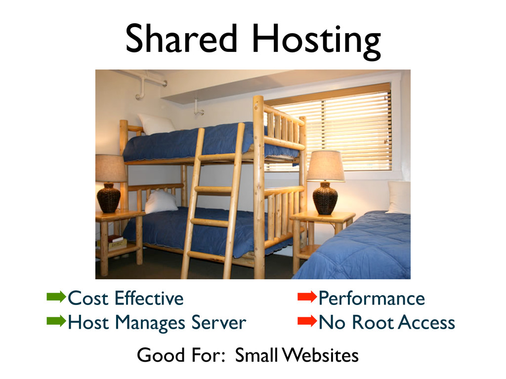 Shared Hosting Good For: Small Websites ➡Cost E...