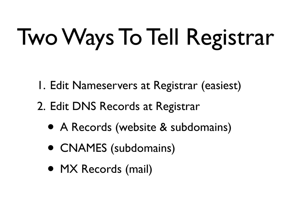Two Ways To Tell Registrar 1. Edit Nameservers ...