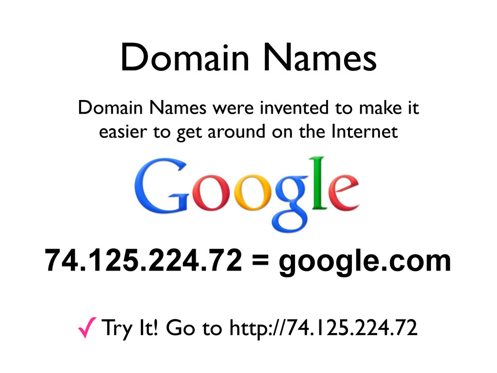 Domain Names Domain Names were invented to make...