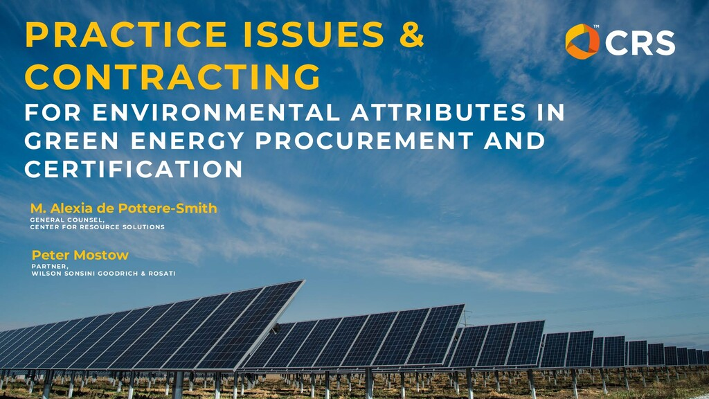 PRACTICE ISSUES & CONTRACTING FOR ENVIRONMENTAL...