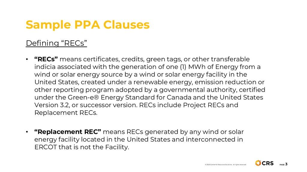 """Defining """"RECs"""" • """"RECs"""" means certificates, cr..."""