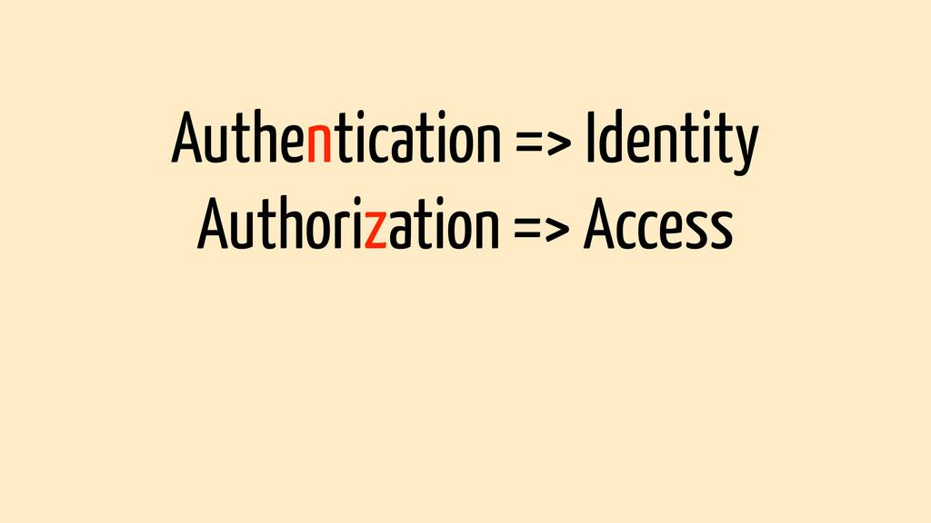 Authentication => Identity Authorization => Acc...