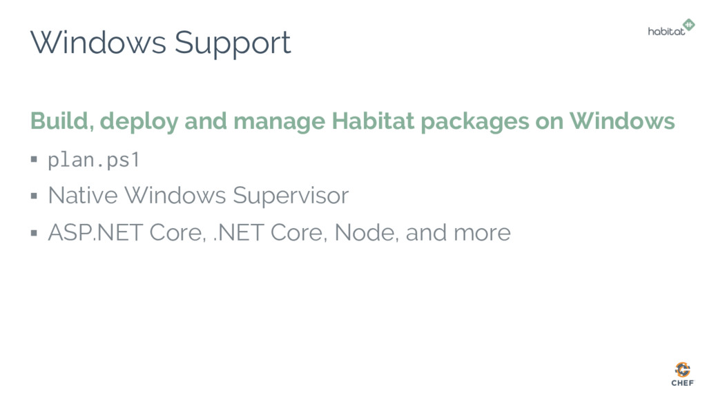 Windows Support Build, deploy and manage Habita...