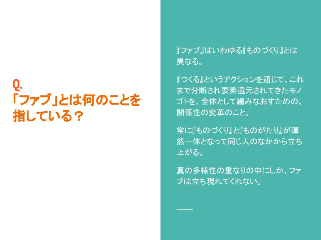 Q. 「ファブ」とは何のことを 指している? 『ファブ』はいわゆる『ものづくり』とは 異なる。...