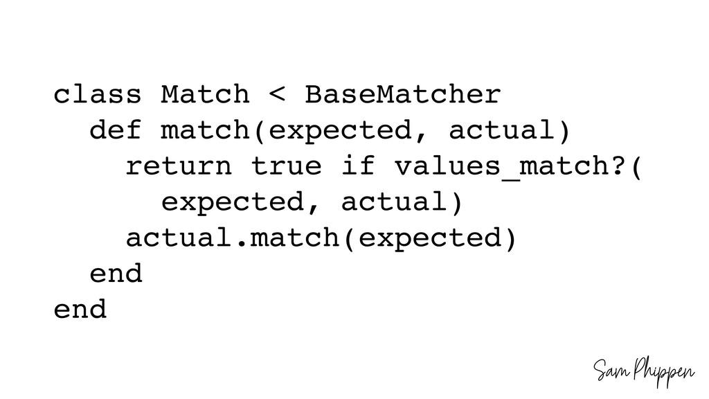 Sam Phippen class Match < BaseMatcher def match...