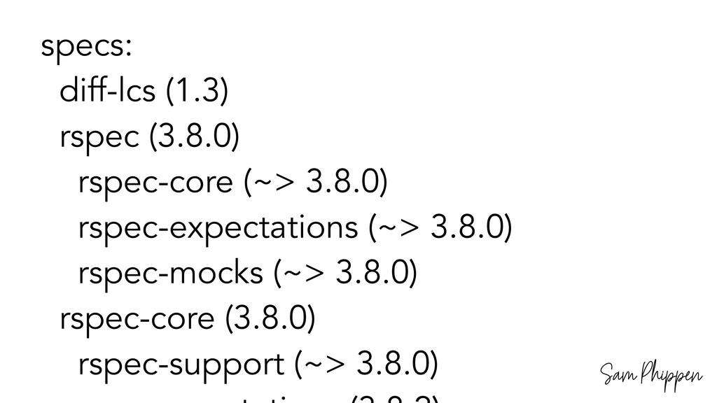 Sam Phippen specs: diff-lcs (1.3) rspec (3.8.0)...