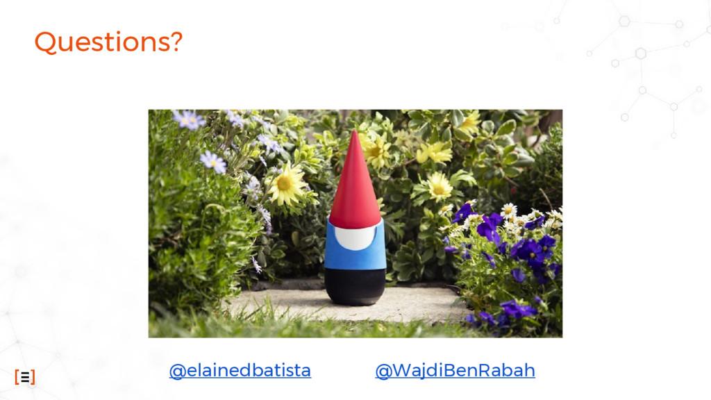 Questions? @elainedbatista @WajdiBenRabah