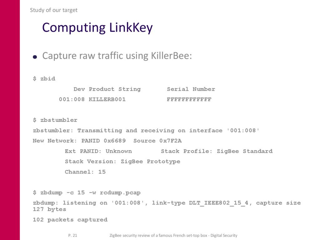 Computing LinkKey Capture raw traffic using Kil...