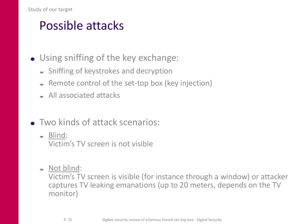 Possible attacks Using sniffing of the key exch...