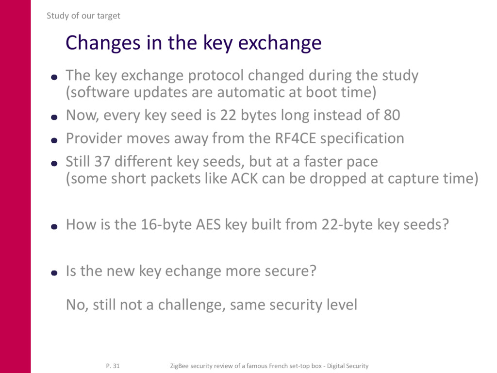 Changes in the key exchange The key exchange pr...