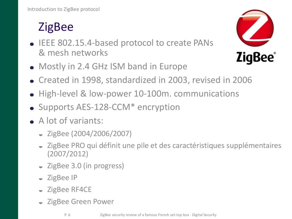 ZigBee IEEE 802.15.4-based protocol to create P...