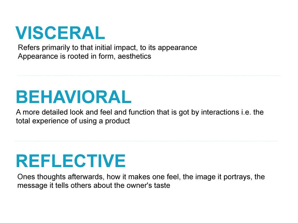 VISCERAL BEHAVIORAL REFLECTIVE A more detailed ...