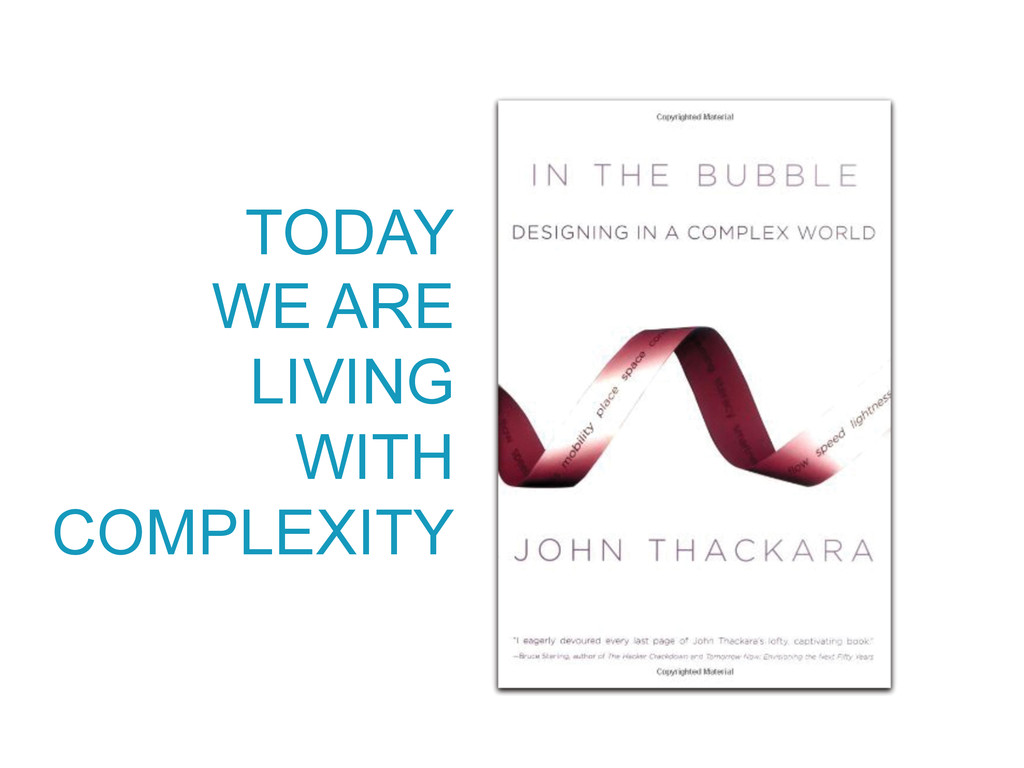 TODAY WE ARE LIVING WITH COMPLEXITY