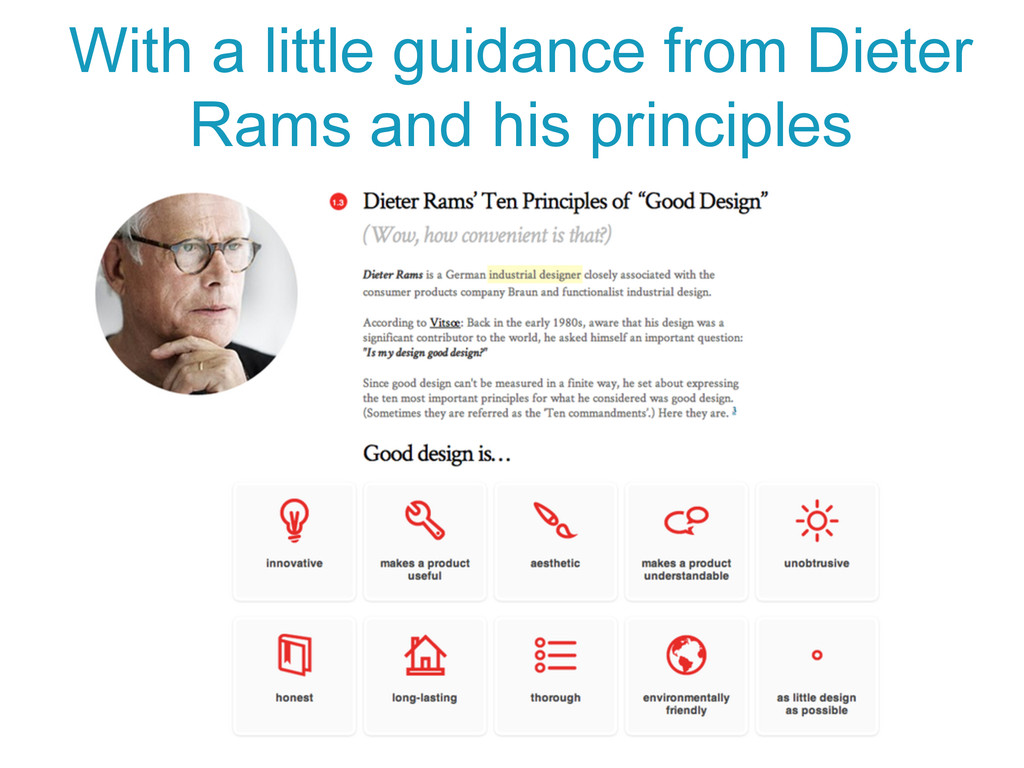 With a little guidance from Dieter Rams and his...