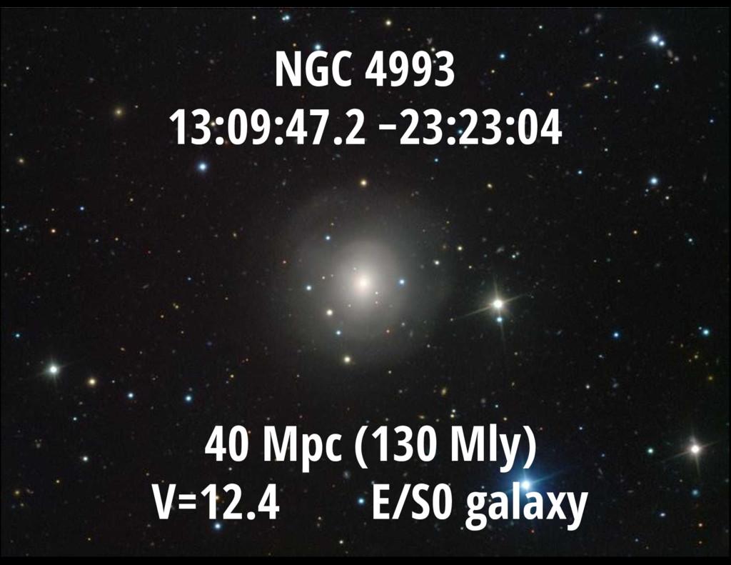 V = 13.3 mag NGC 4993 13:09:47.2 −23:23:04 40 M...