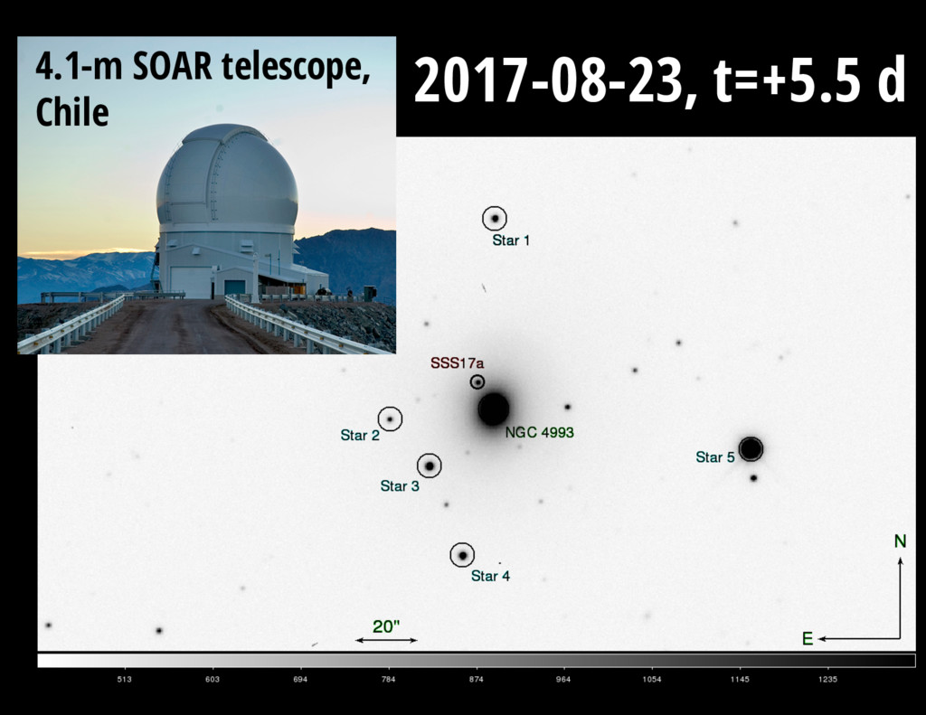 4.1-m SOAR telescope, Chile 2017-08-23, t=+5.5 d