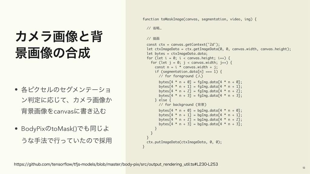 Χϝϥը૾ͱഎ ܠը૾ͷ߹ function toMaskImage(canvas, seg...