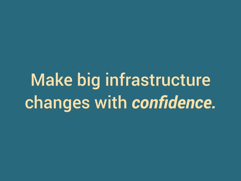 Make big infrastructure changes with confidence.