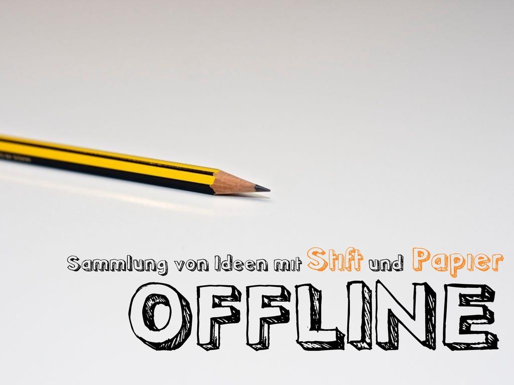 Sammlung von Ideen mit Stift und Papier OFFLINE