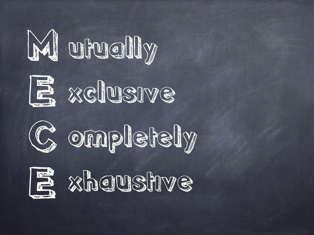 M E C E utually xclusive ompletely xhaustive