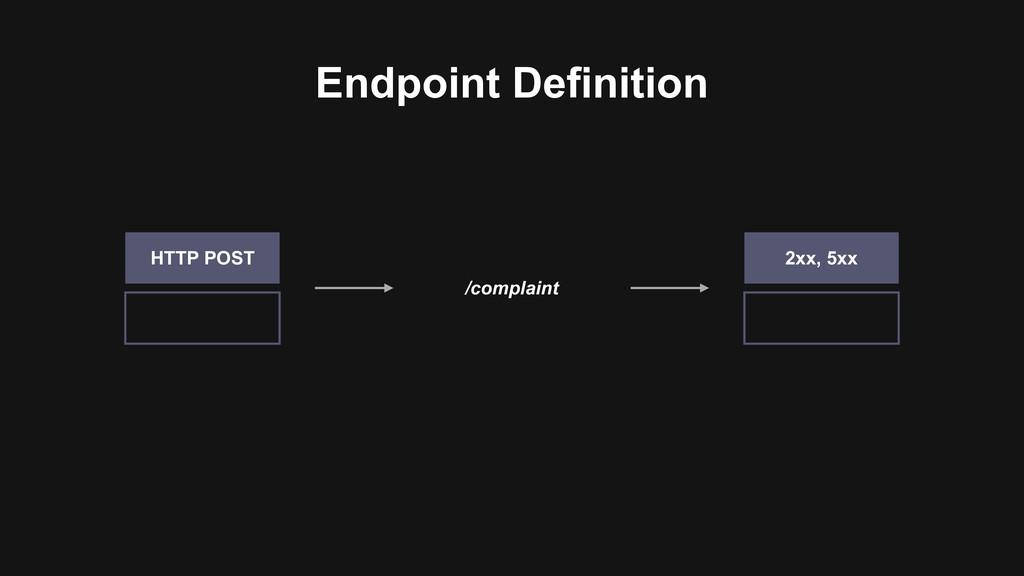 Endpoint Definition /complaint HTTP POST 2xx, 5...