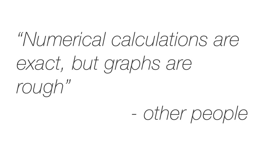 """""""Numerical calculations are exact, but graphs a..."""