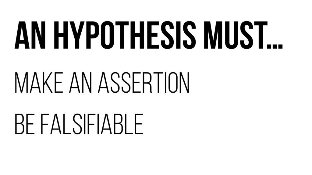 AN HYPOTHESIS MUST… MAKE AN ASSERTION BE FALSIF...