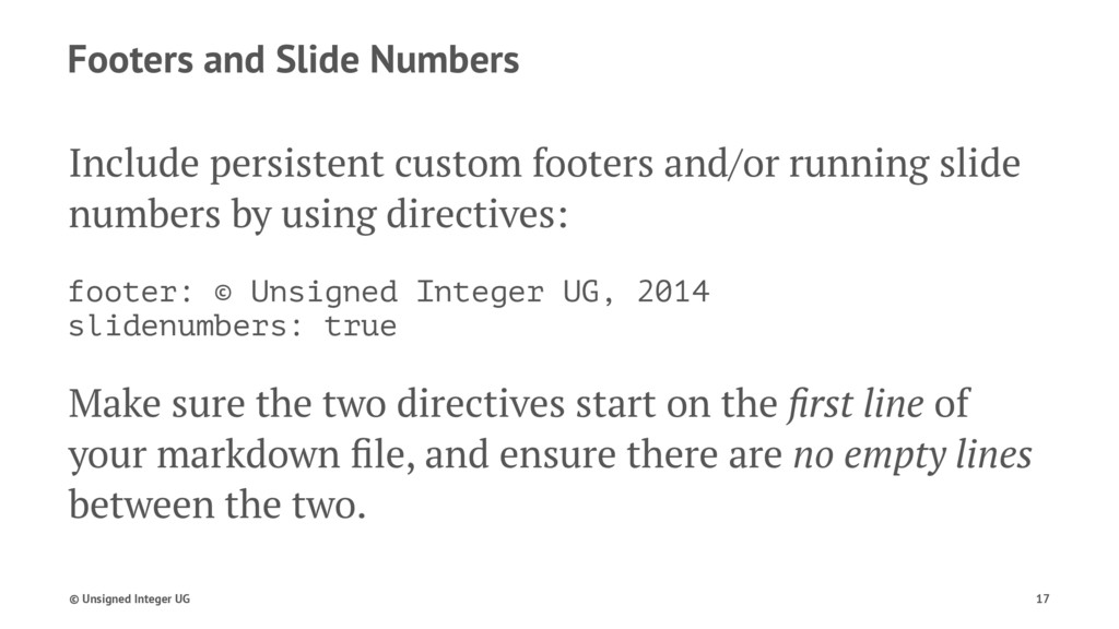 Footers and Slide Numbers Include persistent cu...