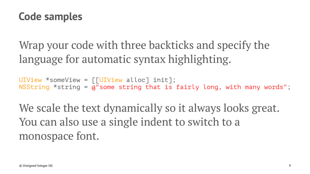 Code samples Wrap your code with three backtick...