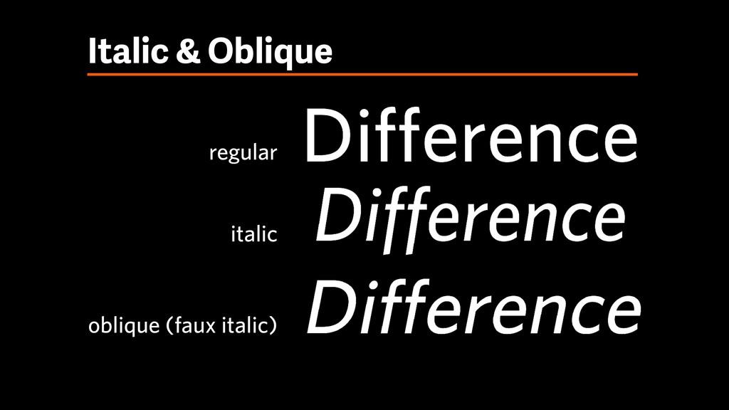 Italic & Oblique regular italic oblique (faux i...