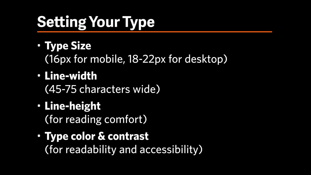 Setting Your Type • Type Size
