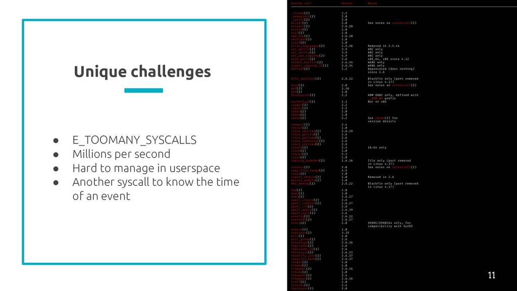 Unique challenges ● E_TOOMANY_SYSCALLS ● Millio...