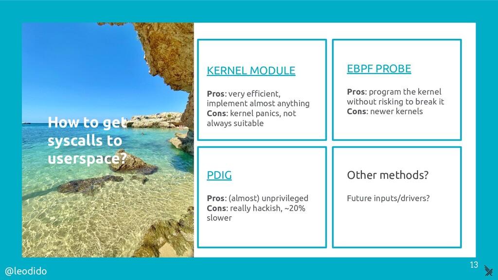 KERNEL MODULE Pros: very efficient, implement alm...