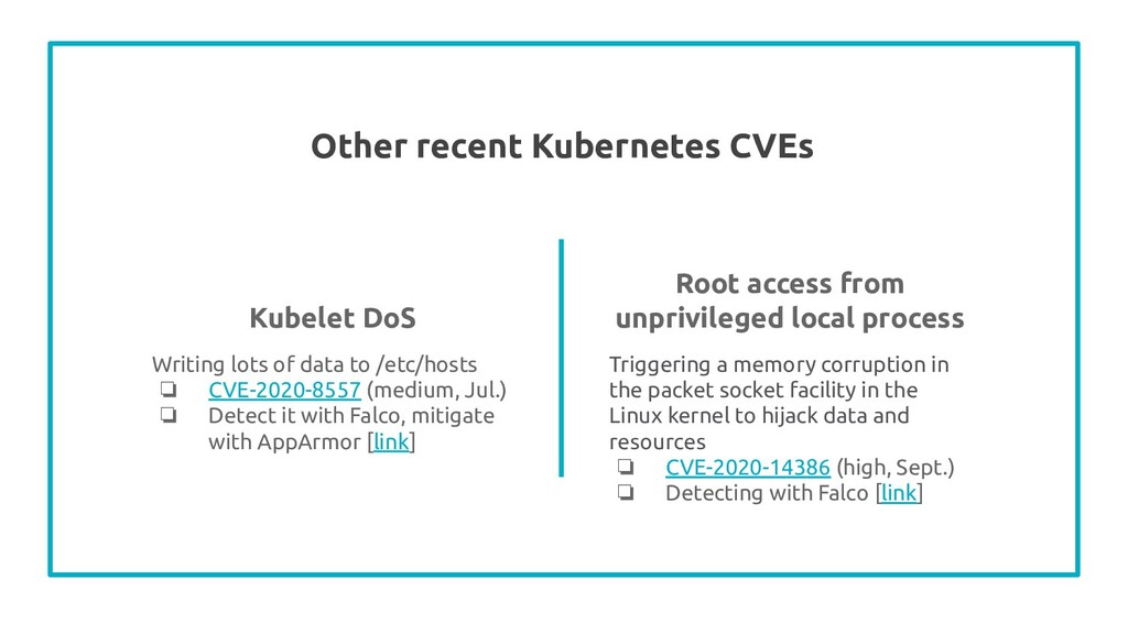 Other recent Kubernetes CVEs Writing lots of da...