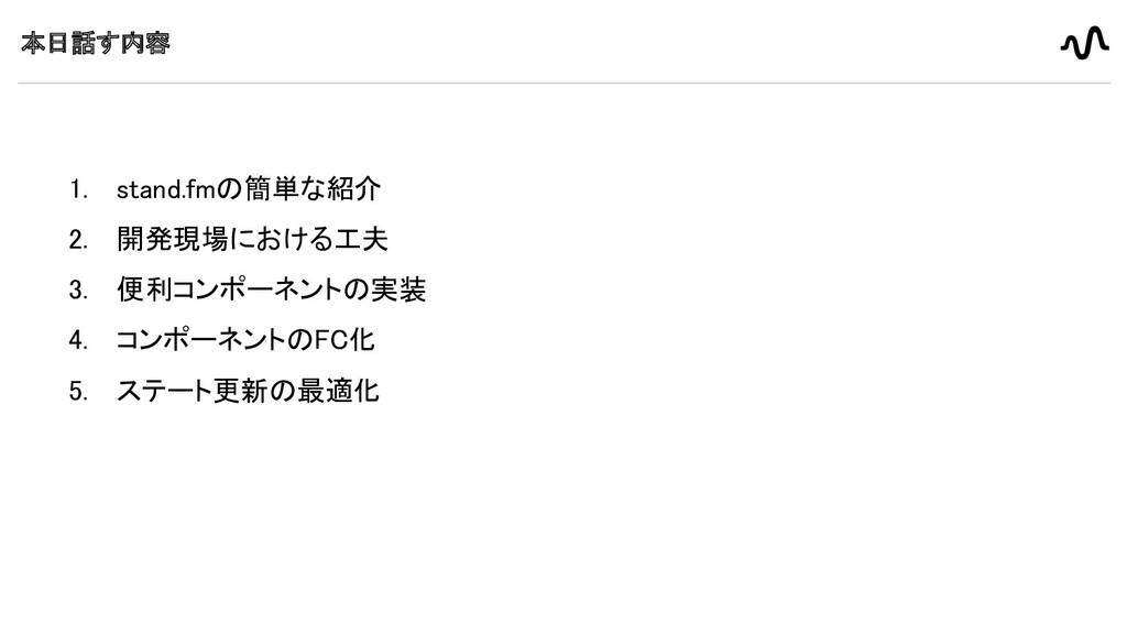 本日話す内容 1. stand.fmの簡単な紹介 2. 開発現場における工夫 3. 便利コ...