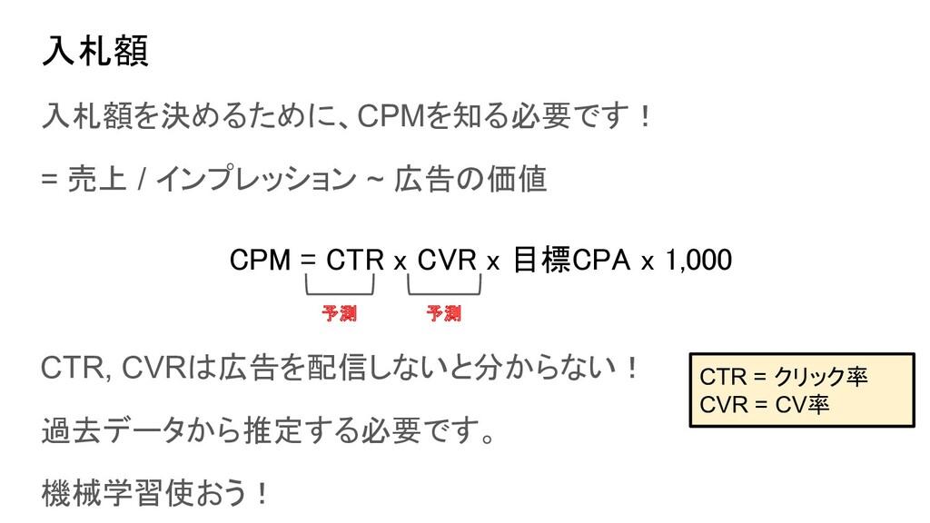 入札額 入札額を決めるために、CPMを知る必要です! = 売上 / インプレッション ~ 広告...