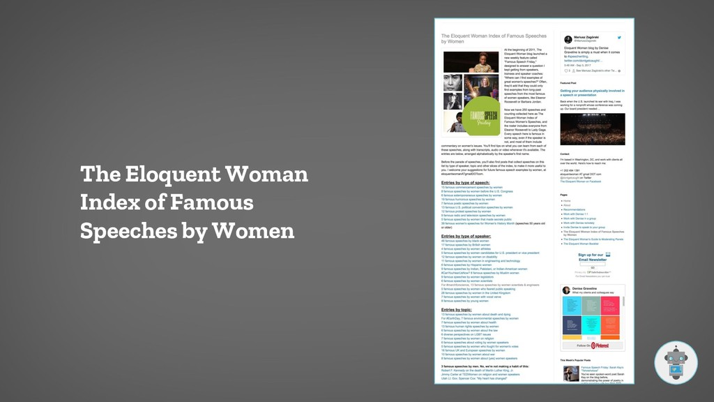 The Eloquent Woman Index of Famous Speeches by ...