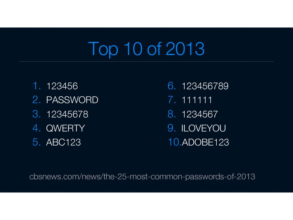 Top 10 of 2013  1. 123456 2. PASSWORD 3. ...