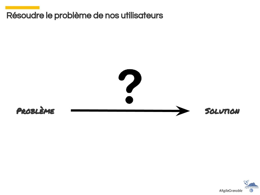 Résoudre le problème de nos utilisateurs Problè...