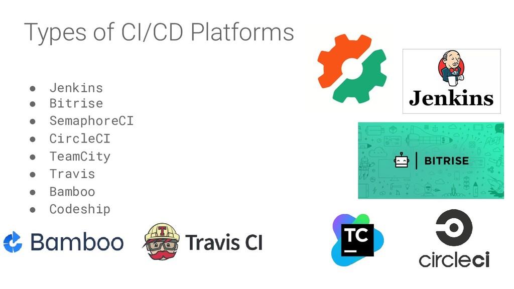 Types of CI/CD Platforms ● Jenkins ● Bitrise ● ...