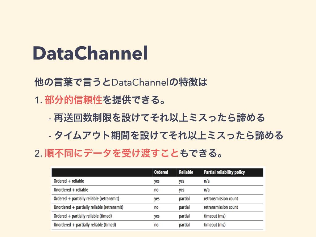 DataChannel ଞͷݴ༿Ͱݴ͏ͱDataChannelͷಛ 1. ෦త৴པੑΛఏ...