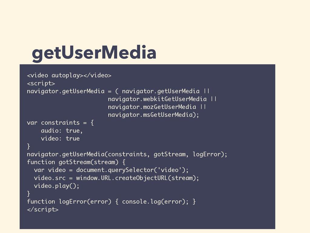 getUserMedia <video autoplay></video> <script> ...