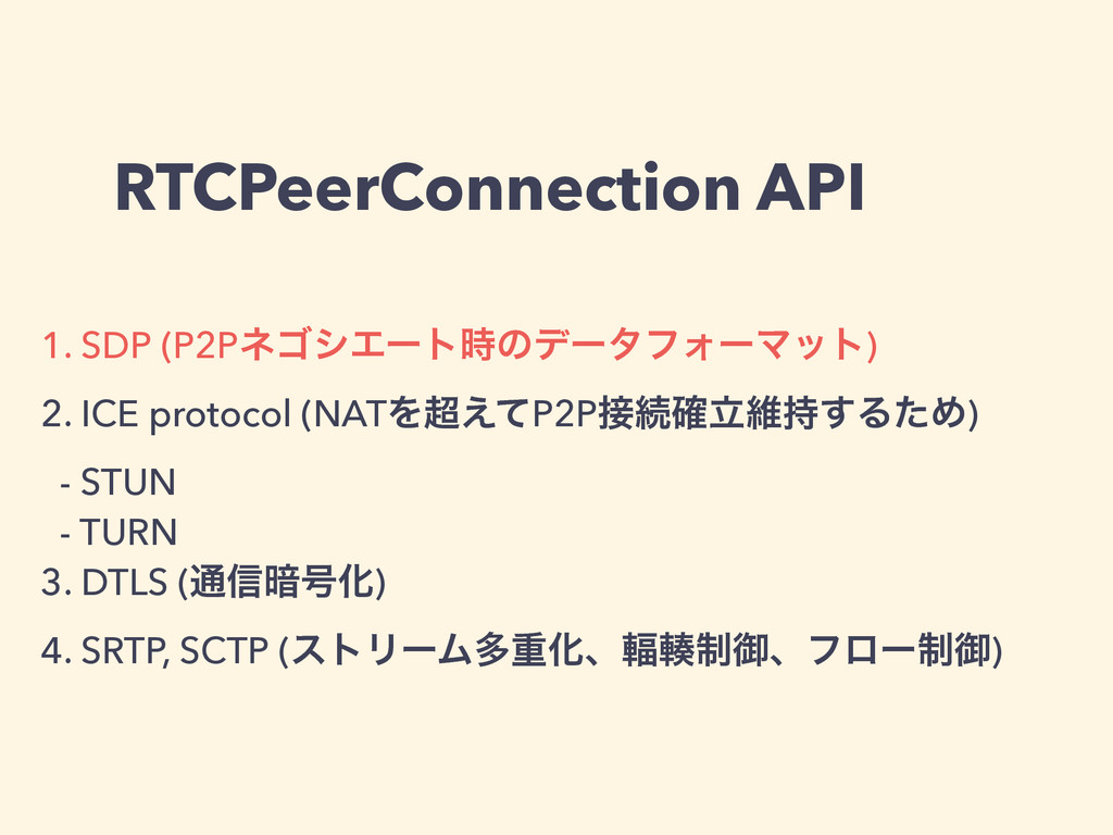RTCPeerConnection API 1. SDP (P2PωΰγΤʔτ࣌ͷσʔλϑΥʔ...